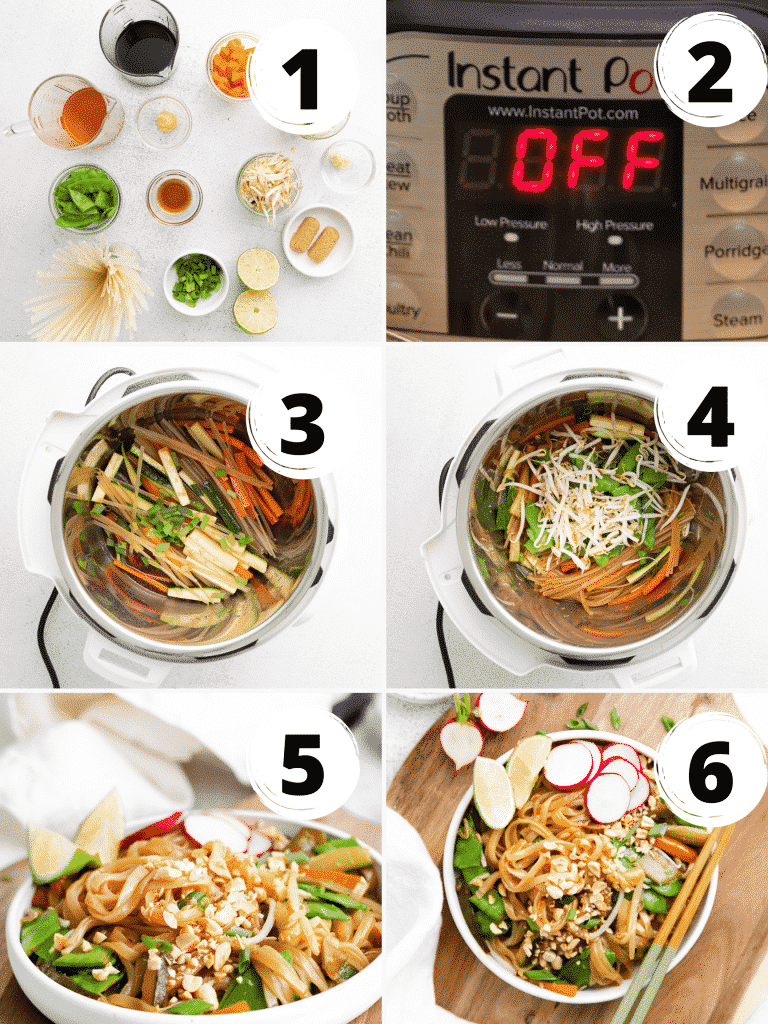 photo collage showing six steps to make instant pot pad thai