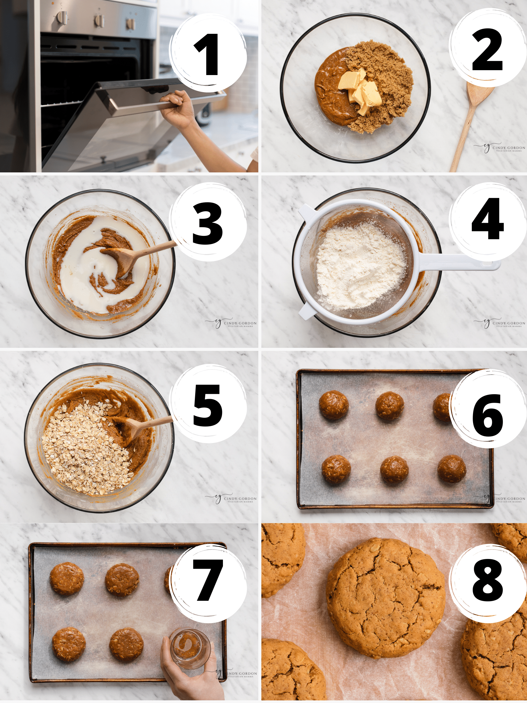 A collage of 8 steps to make vegan peanut butter oatmeal cookies from scratch