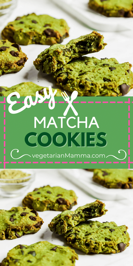 images of matcha cookies with text overlay