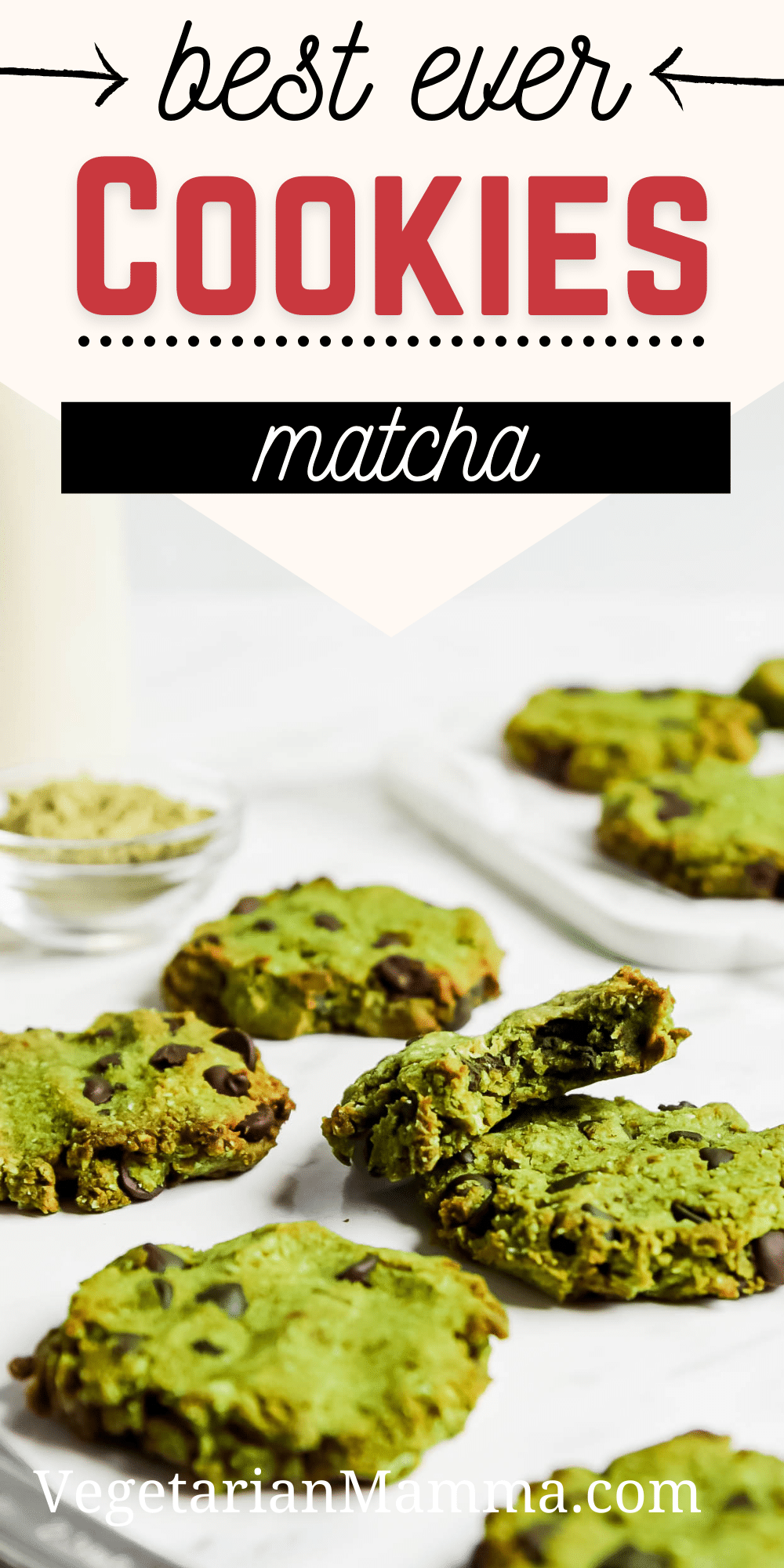 Matcha Chocolate Chip Cookies are packed with earthy green tea flavor and rich chocolate chips. These cookies are gluten free, refined sugar free and totally delicious. #cookies #matcha