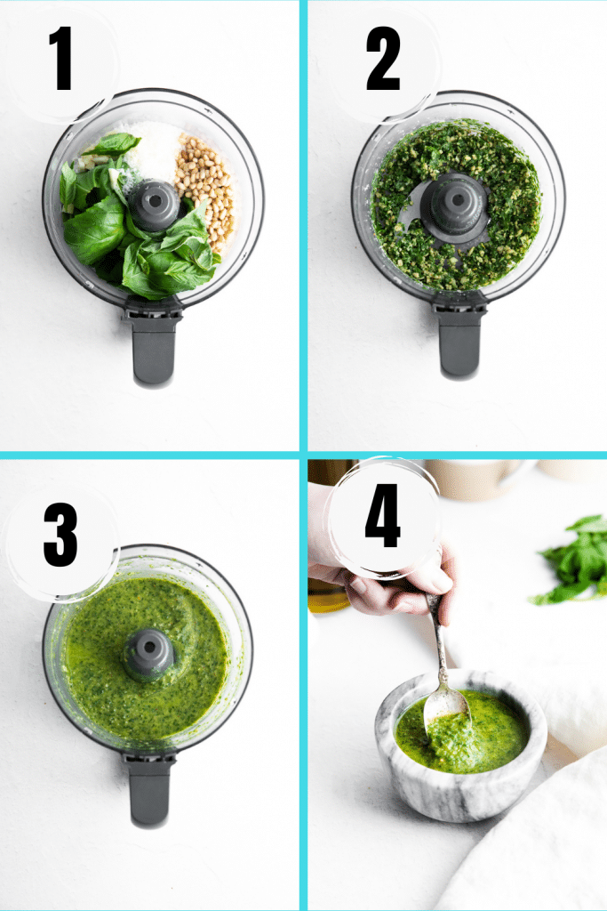 photo collage showing four steps needed to make basil pesto with pine nuts and cheese