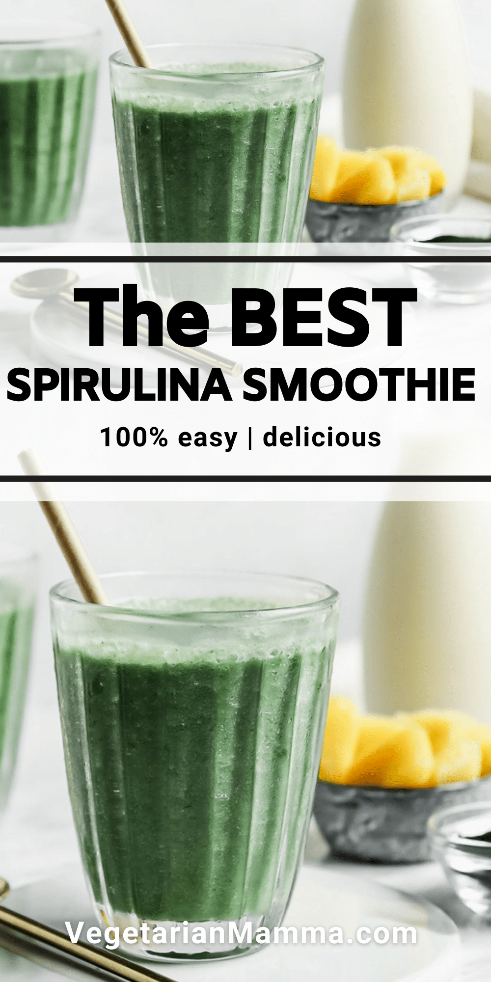 This Spirulina Smoothie is a great choice for a quick and easy breakfast! It is loaded with nutrients and is also vegan and gluten-free!
