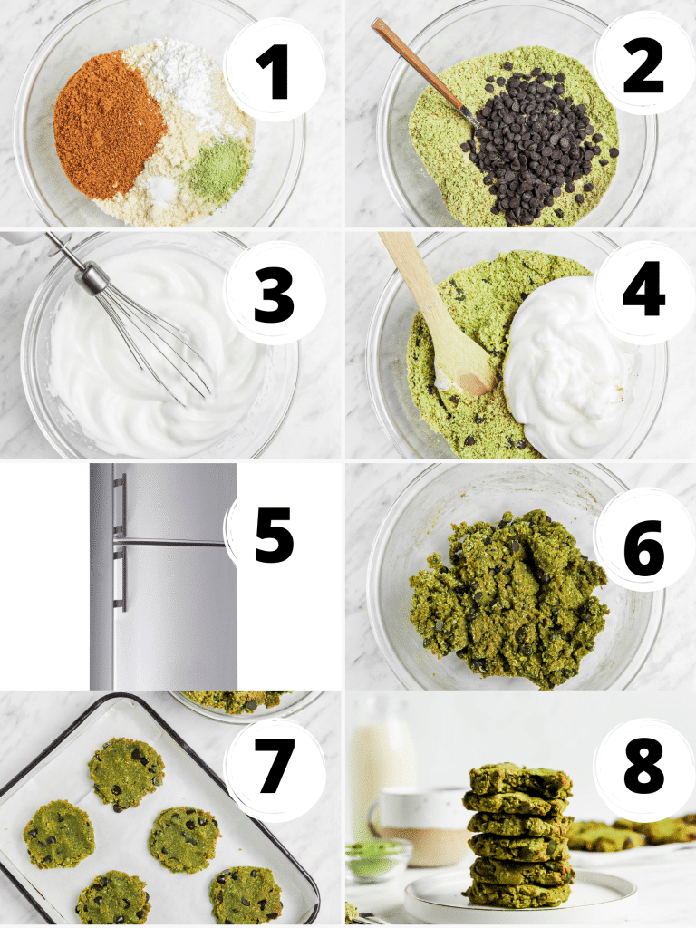 photo collage showing 8 steps to make matcha cookies