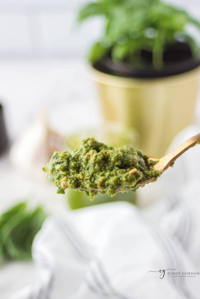 a heaping spoonful of no nut pesto