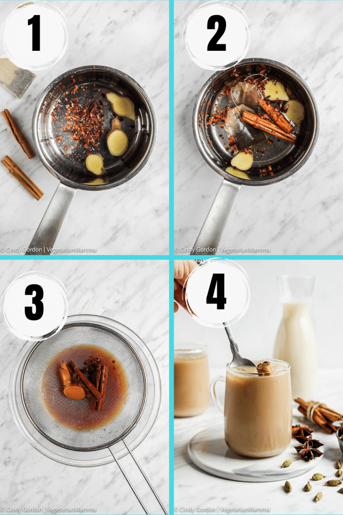 Photo collage showing four of the steps needed to make iced chai tea latte