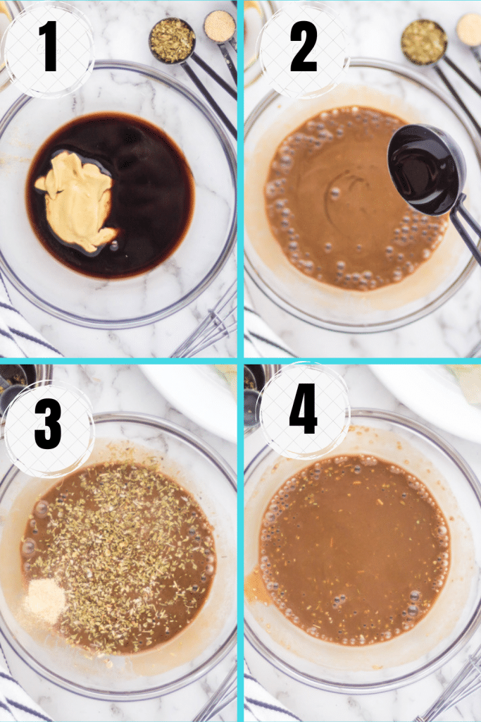 Photo collage showing four steps needed to make oil free salad dressing