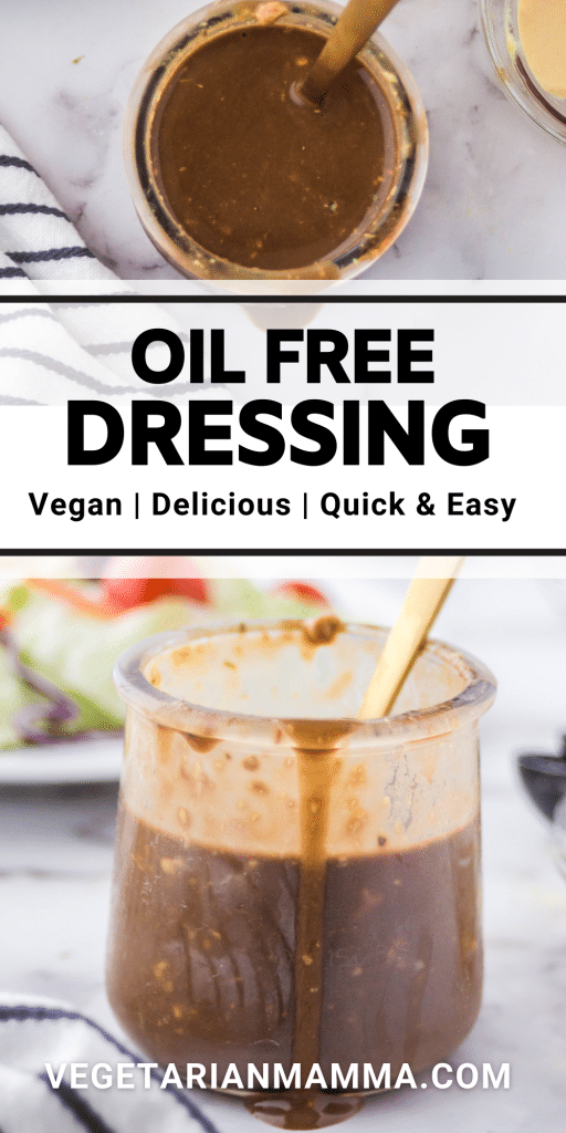 images of oil free dressing with text overlay
