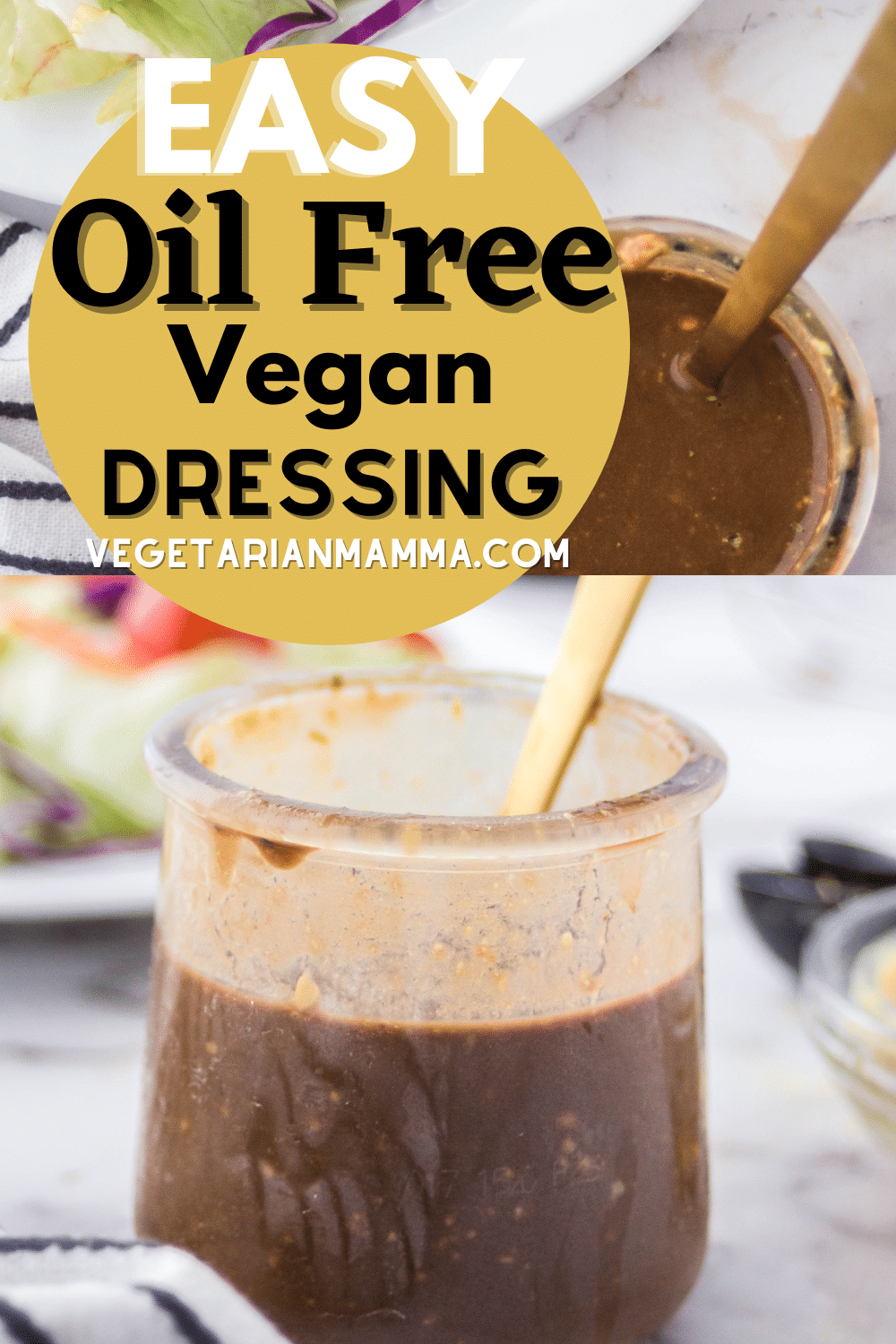 This vegan balsamic oil free salad dressing is low calorie and high in flavor. Packed with sweet and savory flavor notes, this will become your go-to salad dressing, and it's so easy to make. #salad #oilfreedressing