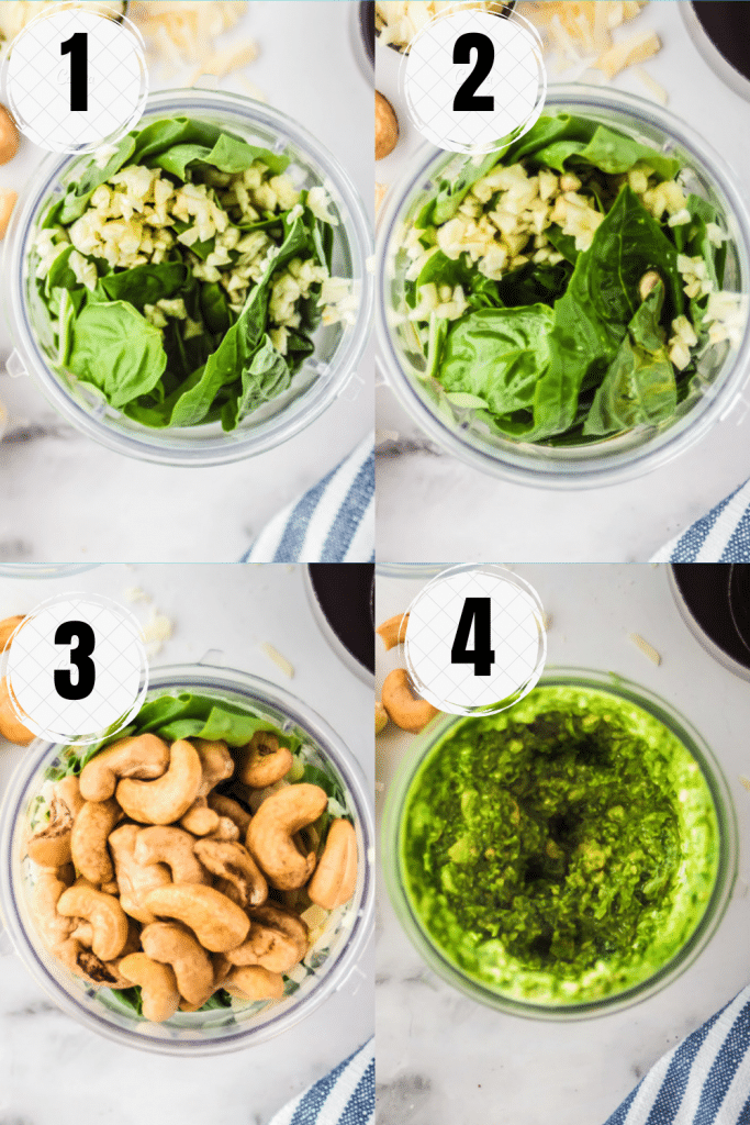 Photo collage showing four steps needed to make cashew pesto