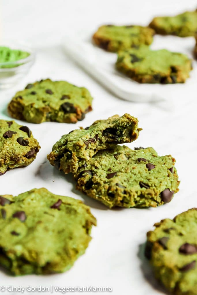 A tray of green matcha chocolate chip cookies