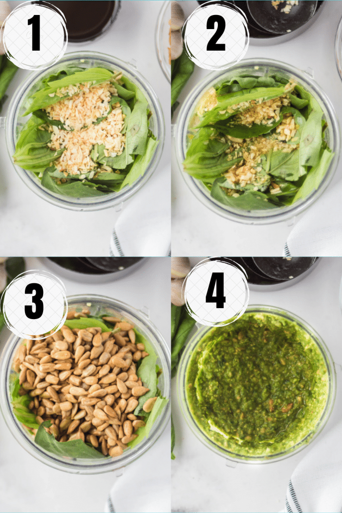 photo collage showing four steps needed to make nut free basil pesto