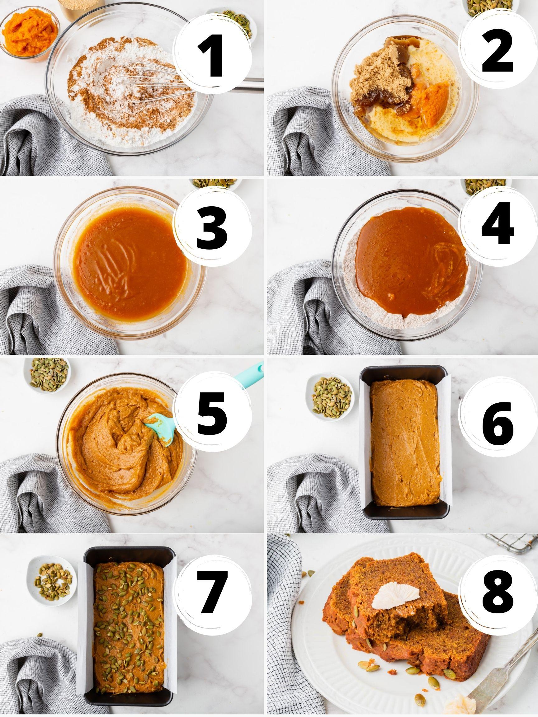 Collage of 8 steps to make vegan pumpkin bread