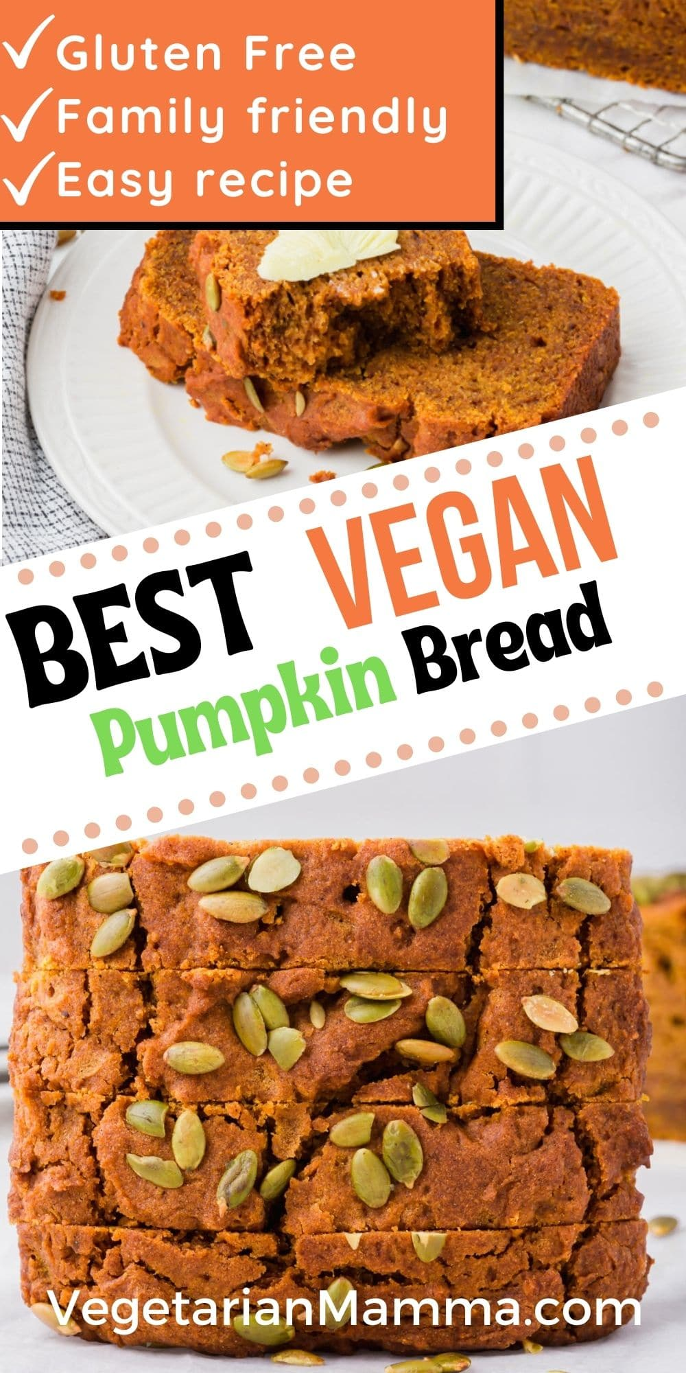 Vegan Pumpkin Bread is a quick and easy gluten-free bread that everyone will love for fall! If you miss Starbucks pumpkin bread, you won't with this delicious vegan recipe.