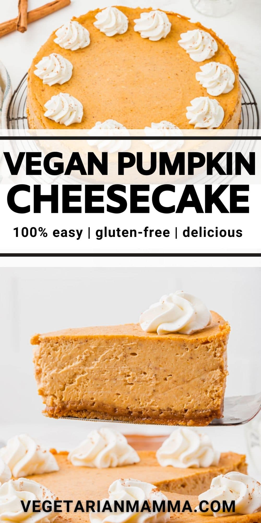 Vegan Pumpkin Cheesecake is luscious, creamy, and so easy! Make this amazing vegan dessert for holiday dinners packed with pumpkin spice flavor.