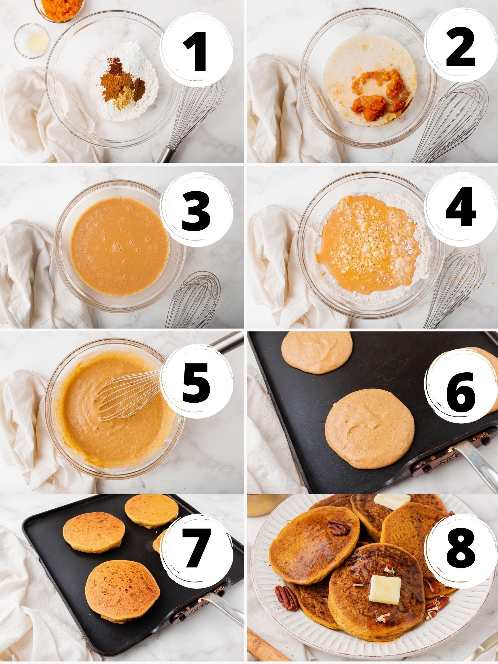 Collage of 8 steps to make vegan pumpkin pancakes on a griddle