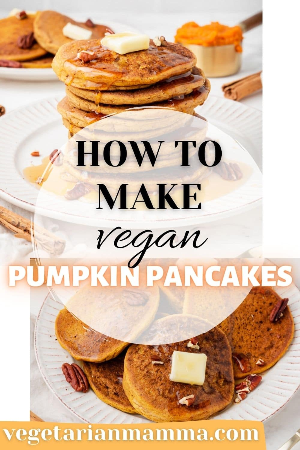 Vegan Pumpkin Pancakes are the fall breakfast recipe you've been missing! Pumpkin puree pancakes are ready in just 20 minutes with all the fall flavors like cinnamon, nutmeg, ginger, and cloves. #pumpkinpancakes