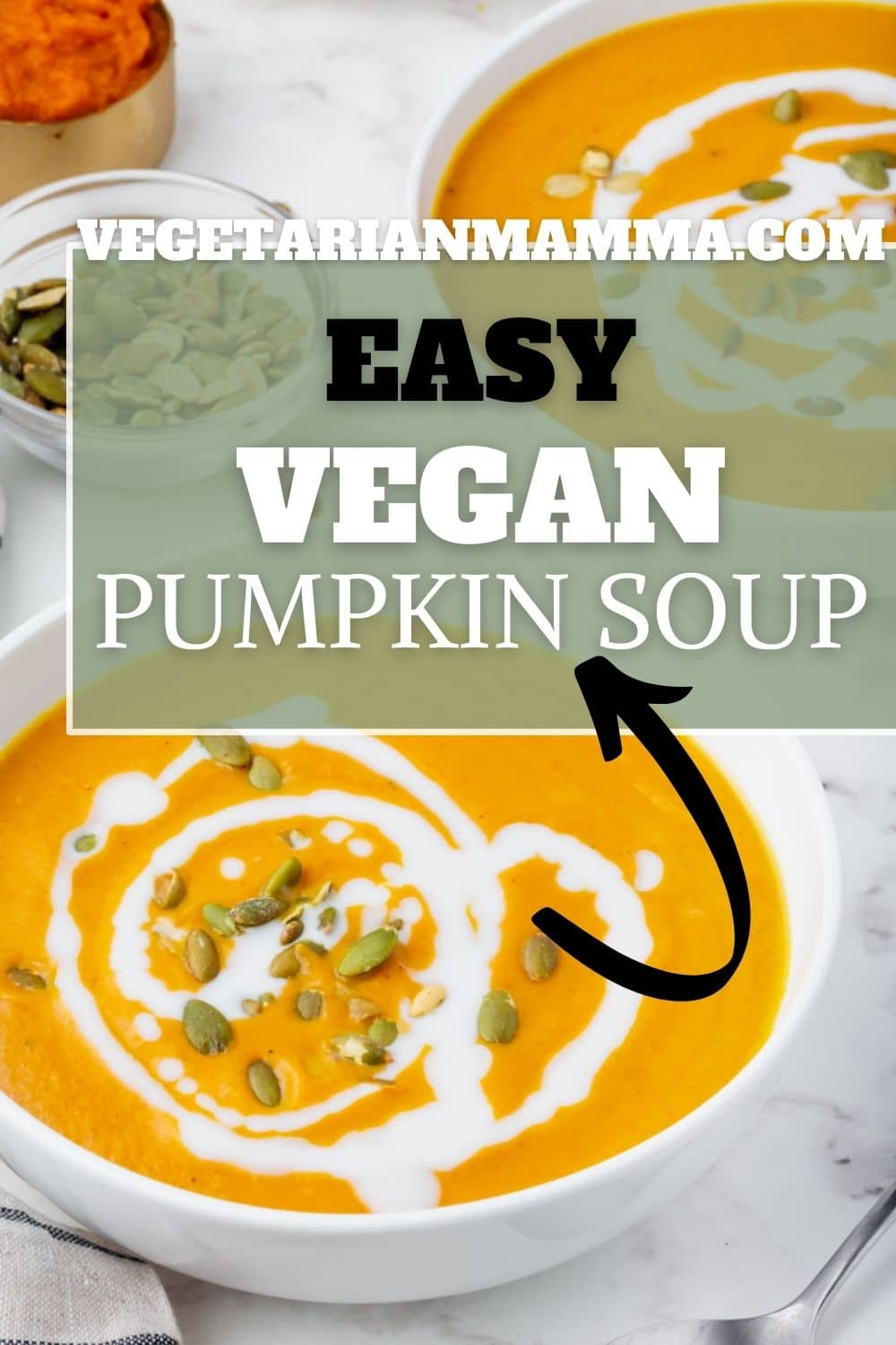 Vegan Pumpkin Soup is the thick and creamy fall soup of your dreams! Make the most luscious soup with canned pumpkin puree and coconut milk topped with pumpkin seeds for a yummy crunch.