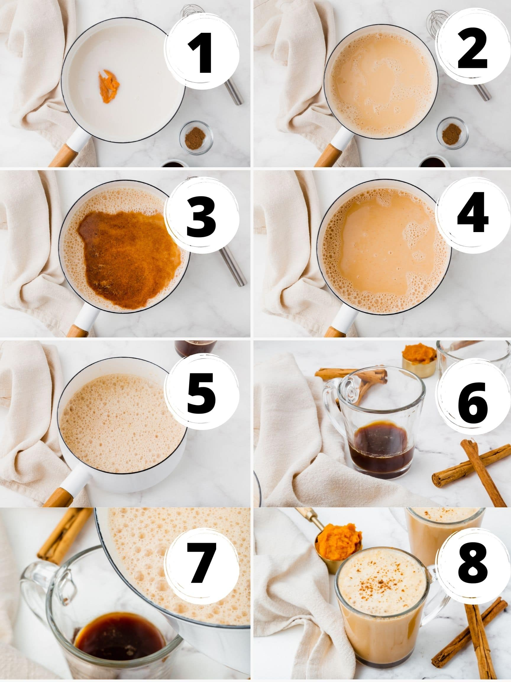 Collage of 8 steps to make vegan pumpkin spice lattes with frothy dairy-free milk on top