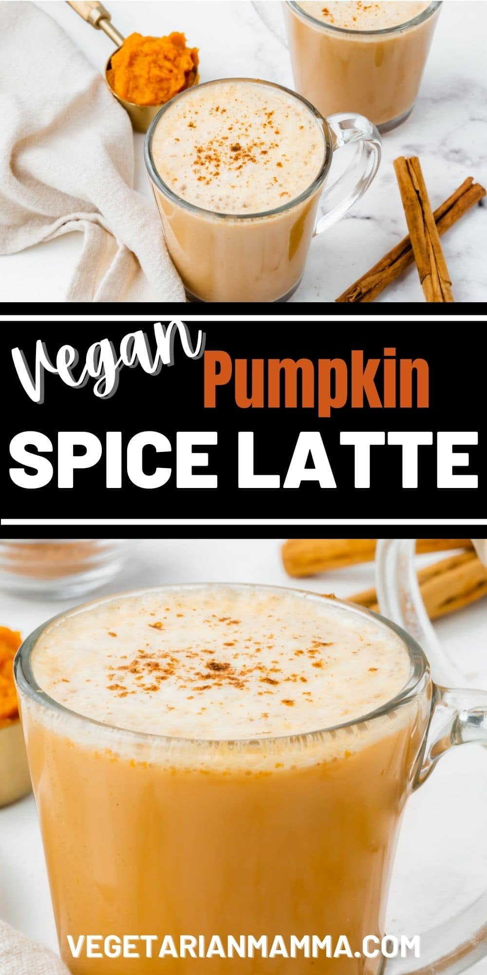 Skip the Starbucks line and make your own vegan pumpkin spiced latte at home! You only need 6 basic ingredients to make this latte recipe — and no fancy equipment required!