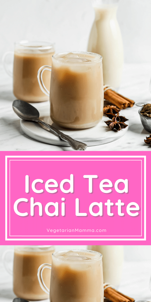 iced tea chai latte images  with text overlay