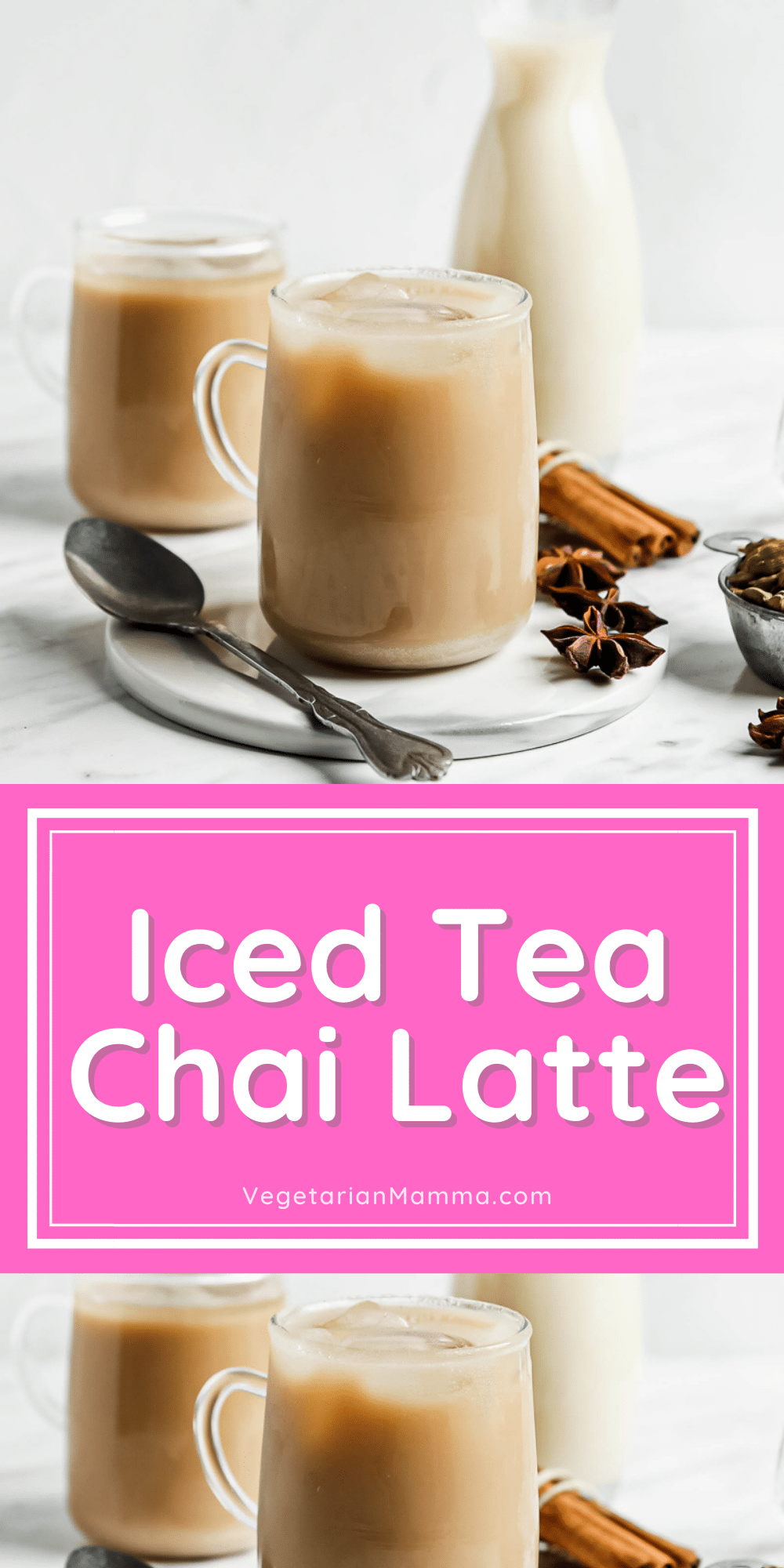 This Iced Chai Tea Latte is a cold drink packed with sweet, warm spices! It's the perfect way to enjoy a chai latte on a warm day, or any time you're craving this spicy drink. This latte is dairy free, vegan, and amped up with a shot of espresso.