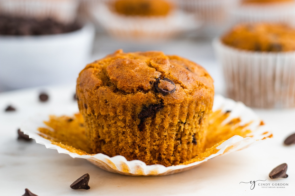 one pumpkin chocolate chip muffin, unwrapped