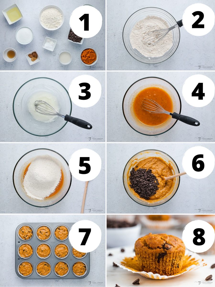 photo collage showing 8 steps needed to make vegan pumpkin chocolate chip muffins