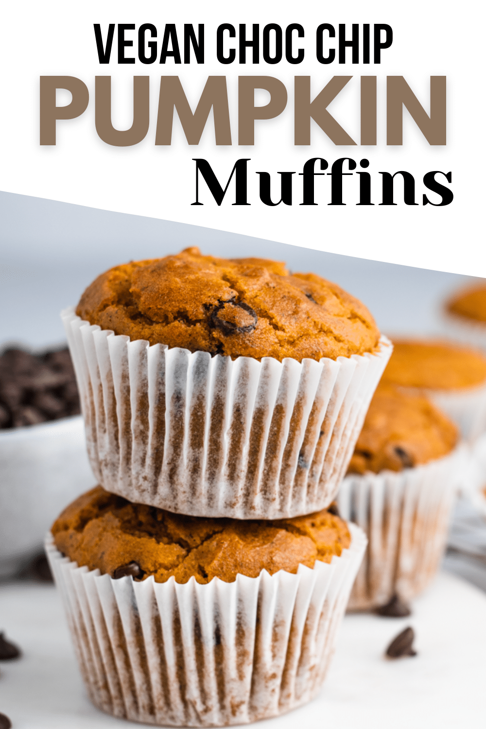 Have a craving for some pumpkin spice goodness plus some chocolate? I have you covered with this easy recipe for Vegan Pumpkin Chocolate Chip Muffins! #pumpkinmuffins #veganmuffins
