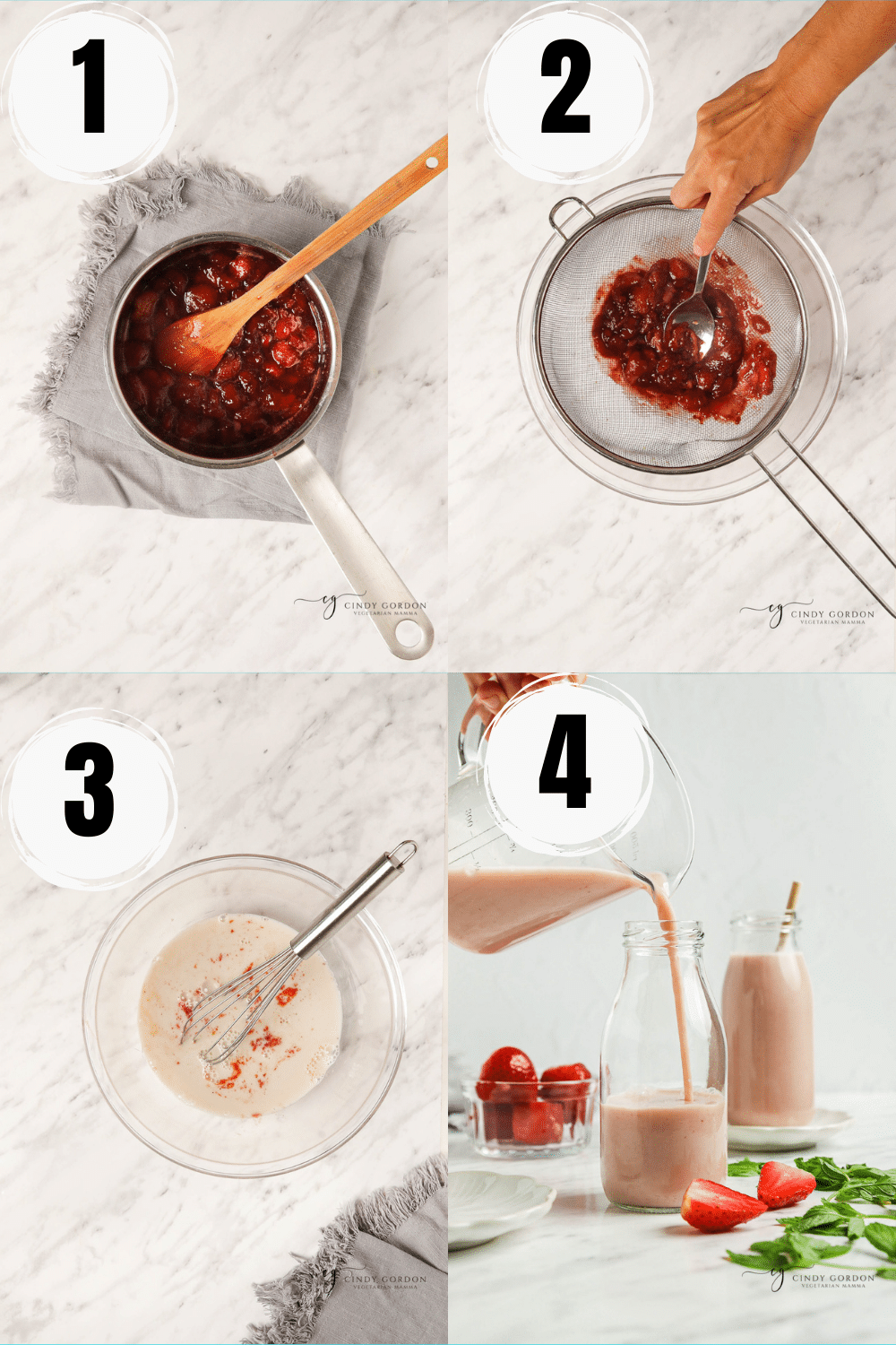 Collage of 4 easy steps to make homemade strawberry almond milk