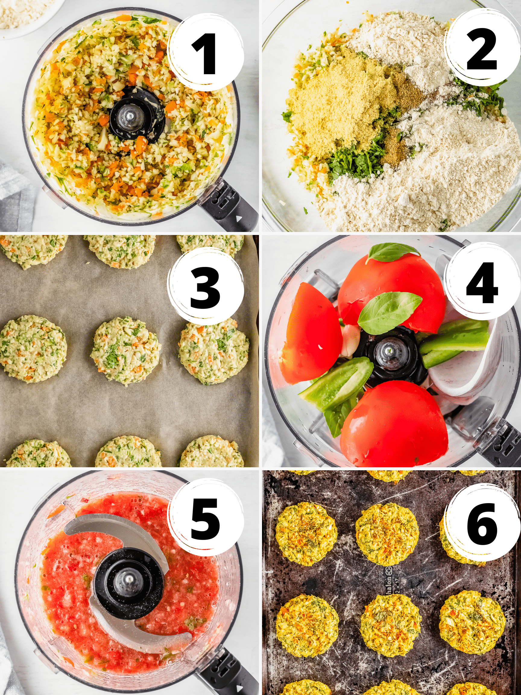 Collage of 6 steps to make vegan zucchini fritters and tomato salsa