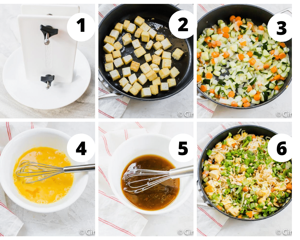 photo collage showing six steps needed to make tofu pad thai
