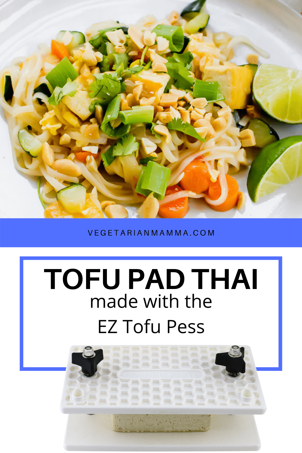 A vegetarian Tofu Pad Thai Recipe with extra vegetables, crunchy peanuts, and fresh herbs. This Pad Thai sauce is sweet and savory and packed with Thai flavors. #tofurecipe #padthai
