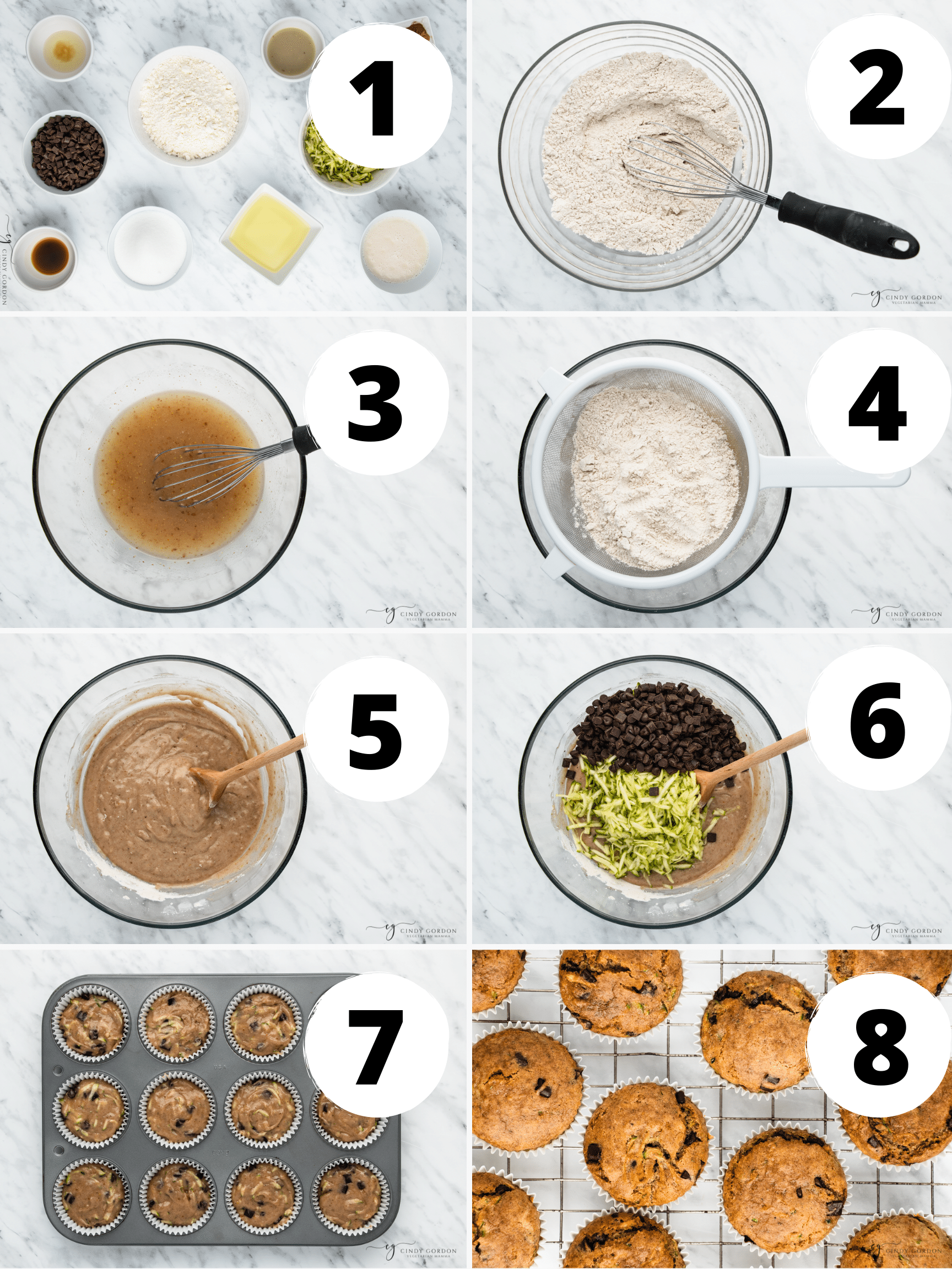 Collage of 8 steps to make the best vegan zucchini muffins