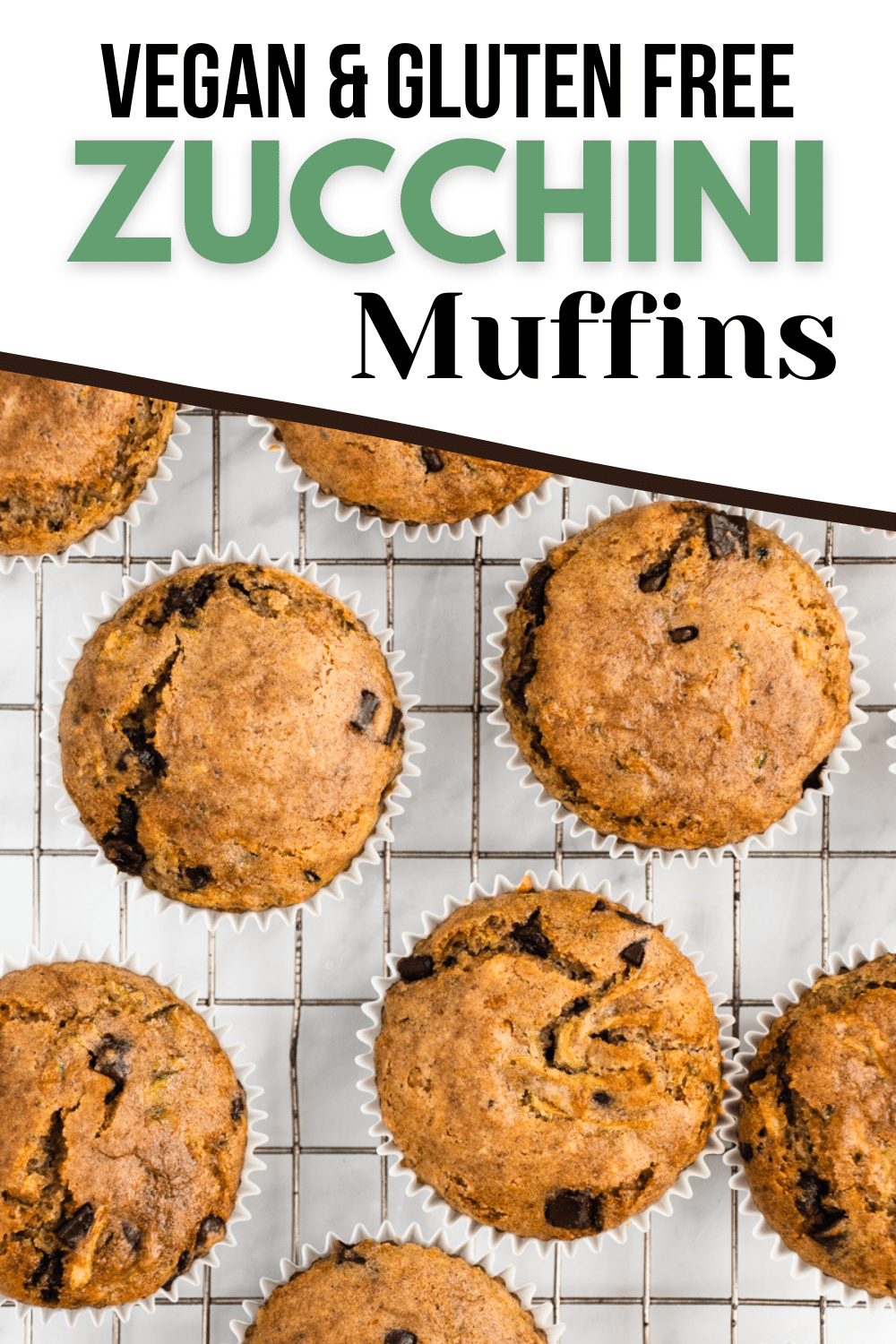Vegan Zucchini Muffins are perfectly spiced for an easy breakfast treat! They're gluten free, packed with protein, and slightly sweet with bursts of dark chocolate.
