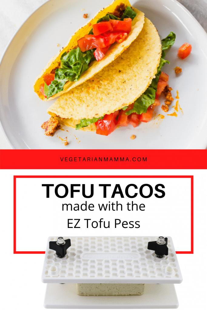 An EZ Tofu Press on bottom of image and tofu tacos on top
